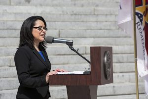 Yvette Martinez, former Assistant Commissioner at TN Department of Veterans Services, speaks a Memorial Day Event.